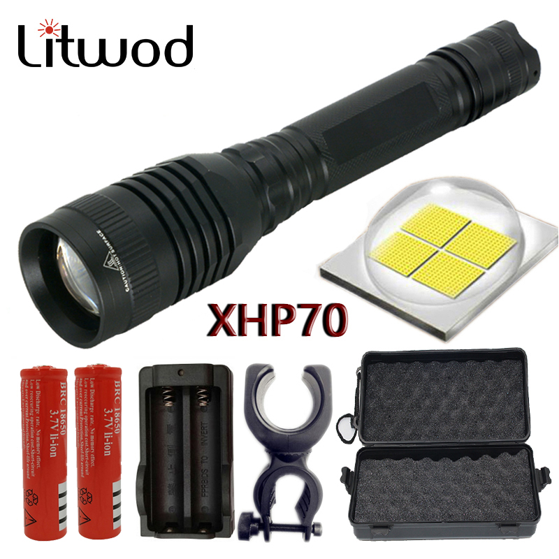 18650 Battery+Charger WT 8000LM T6 Zoom Tactical LED Flashlight Torch Lamp