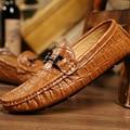 Patrón Del Cocodrilo de Cuero Real de Los Hombres de inglaterra Zapatos de Conducción Mocasines Moda Casual Hombres Zapatos de la Marca de Lujo Zapatos Mocasines 2A