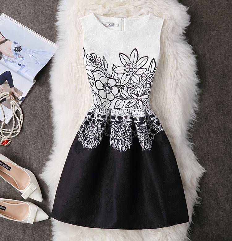 2017 New Women Casual Summer Autumn Dresses Vintage Printing Floral A Line High Waist Sleeveless Fashion Slim Vest Dress