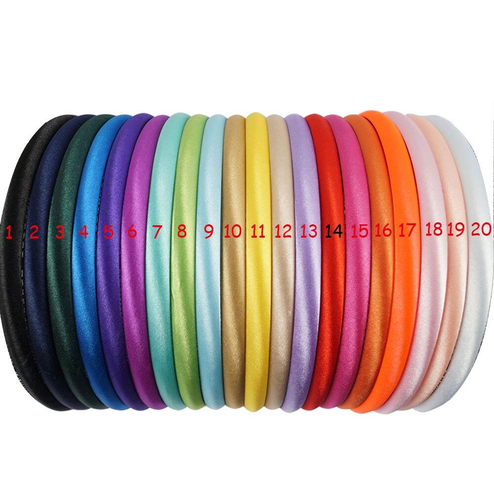 20 sztuk/partia 20 kolory 10mm dziewczynek stałe satynowe opaski dla dzieci dzieci twarde Hairband akcesoria do włosów