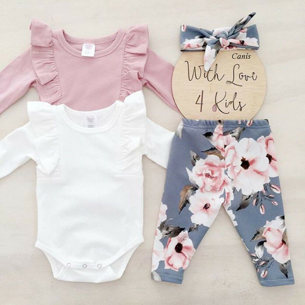 Newborn Baby Girl Clothes Ruffle Solid Color Top Romper+Floral Print Pants+Headband 3pcs Sunsuit Clothes