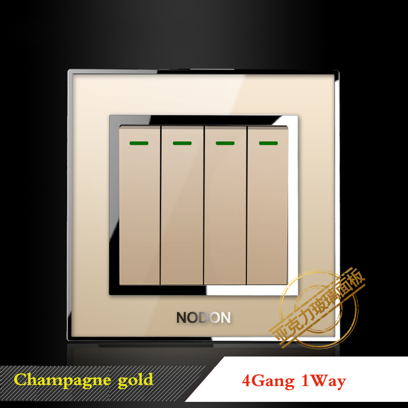 Champagne gold switch socket Type 86 Household Switch socket panel Full set 23 kinds of switch socket Acrylic glass panel in Switches from Lights Lighting