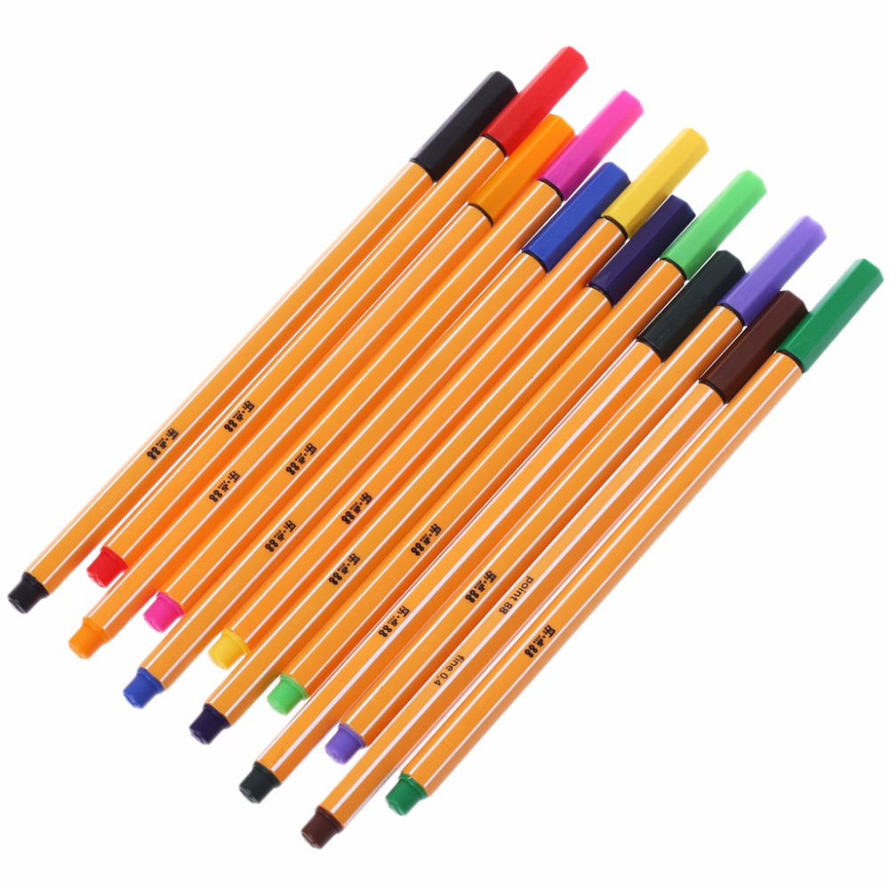 1 X Fine Line Marker Pen 12Pcs Colored Pen Set Stabilo Fiber Pen Stationery Office School Supplies New