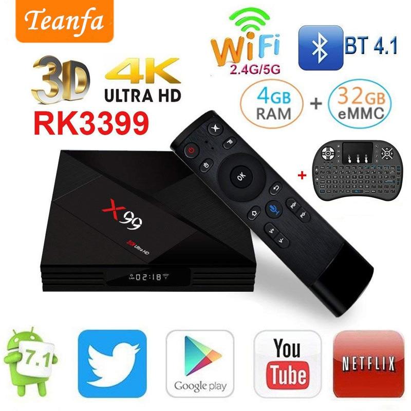 Android 7.1 TV BOX IPTV 4GB 32GB Rockchip RK3399 R-TV BOX 2.4G 5G Dual WIFI BT4.0 1000M LAN iptv USB3.0 Type-c Media smart bo'x
