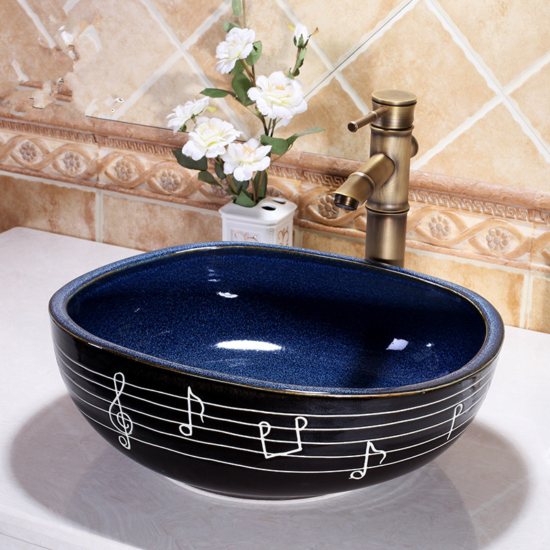 Handmade Porcelain Sink Square Countertop Ceramic Basin Bathroom Sink Bowl Modern Vanity Sinks