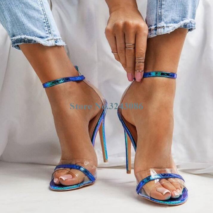 New Colorful Patent Leather Single Strap Thin High Heel Sandals Transparent PVC Patchwork Sandals Open Toe Summer Party Shoes