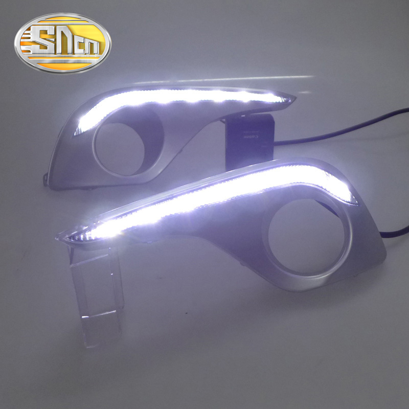 SNCN LED Daytime Running Light For Toyota Highlander 2012 2013 2014,Car Accessories Waterproof ABS 12V DRL Fog Lamp Decoration stainless steel strips for toyota highlander 2011 2012 2013 car styling full window trim decoration oem 16 8