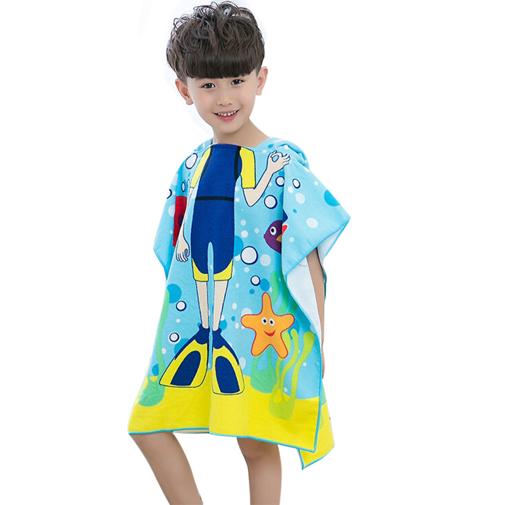 Cartoon Baby Hooded Bath Towel Frogman Shark Mermaid Pattern Beach Towel Boys Girl Bathrobe