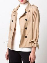 Women Fashion Khaki Double-Breasted Duster Jacket Casual Button Lace Up Sleeve Coat