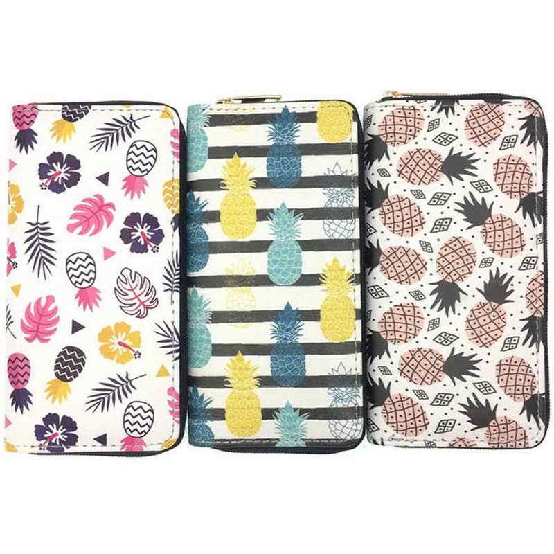 KANDRA New Kawaii Abacaxi Impressão Verão Longo Carteira Mulheres Embreagem Bolsas de Couro PU Titular do Cartão de Sacos de Meninas Zipper Coin