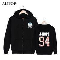ALIPOP KPOP Korean BTS 2th Album WINGS Bangtan Boys HipHop Monster Cotton Zipper Hoodies Clothes Zip