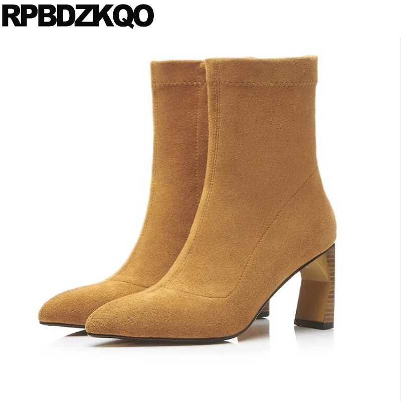 цены на Booties Chunky Ankle Yellow Side Zip Boots Size 10 43 Shoes Winter High Heel Big Stretch 2017 Pointed Toe Short Suede Strange в интернет-магазинах
