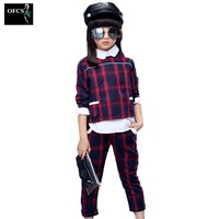 Girls Suits 2017 Spring And Autumn Period British Children Grid Long Sleeved Grid Casual Sport Outfit