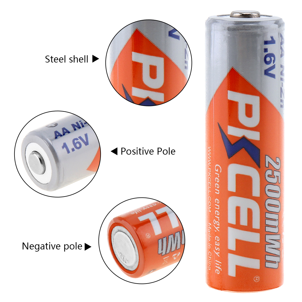 16 pièces/4C PKCELL ni zn 1.6 V Nickel Zinc 2500mWh AA piles rechargeables 2A Bateria-in Batteries rechargeables from Electronique    3
