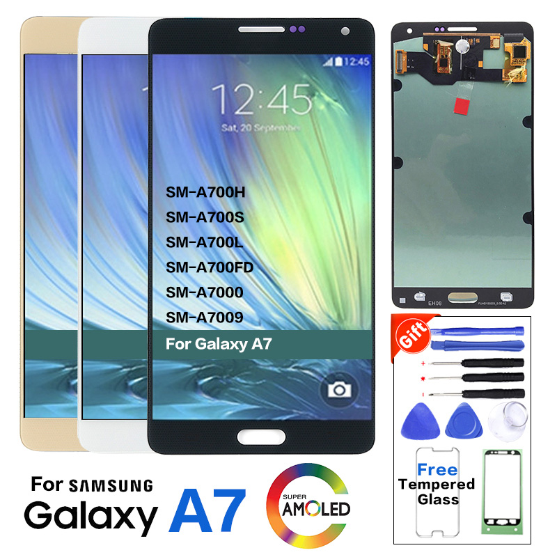 Amoled <font><b>LCD</b></font> for <font><b>Samsung</b></font> <font><b>A7</b></font> 2015 A700 A700F <font><b>LCD</b></font> Display Touch Screen Digitizer 100% Tested Working A700F Replacement <font><b>LCD</b></font>+Tools image
