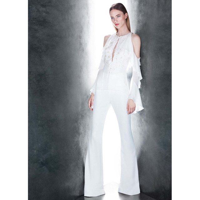 be77469b3e5 gold sequins white women jumpsuit o-neck button placket cold shoulder ruffle  long sleeve sexy jumpsuit one piece outfit overalls