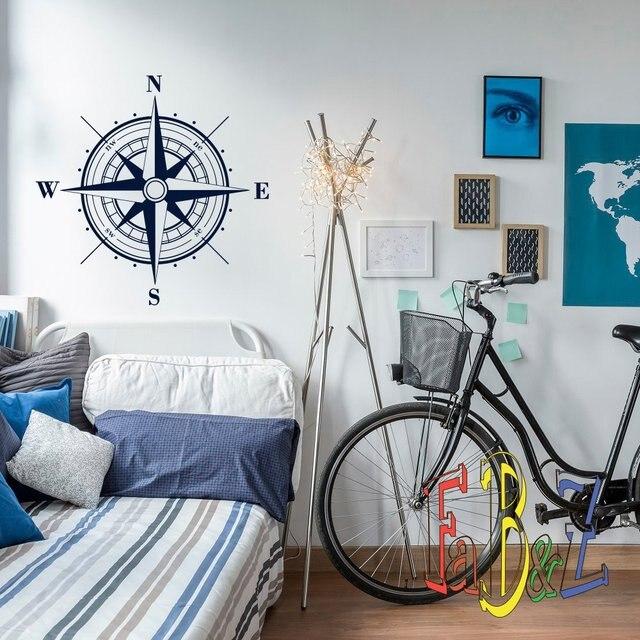 البوصلة الفينيل ملصقات جدار غرفة الأطفال بوي نوم غرفة المعيشة مكتب دراسة المنزل الديكور جدار الفن صائق 1HH5