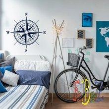 Kompas vinyl muurstickers kinderkamer jongen slaapkamer woonkamer kantoor studie woondecoratie art muurtattoo 1HH5