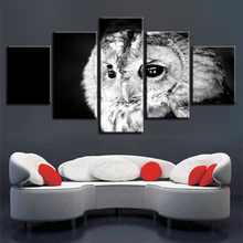 Wall Art Printing HD Pictures Decor Home Living Room 5 Pieces Gray Animal Owl Landscape Painting Modular Canvas Poster Framework