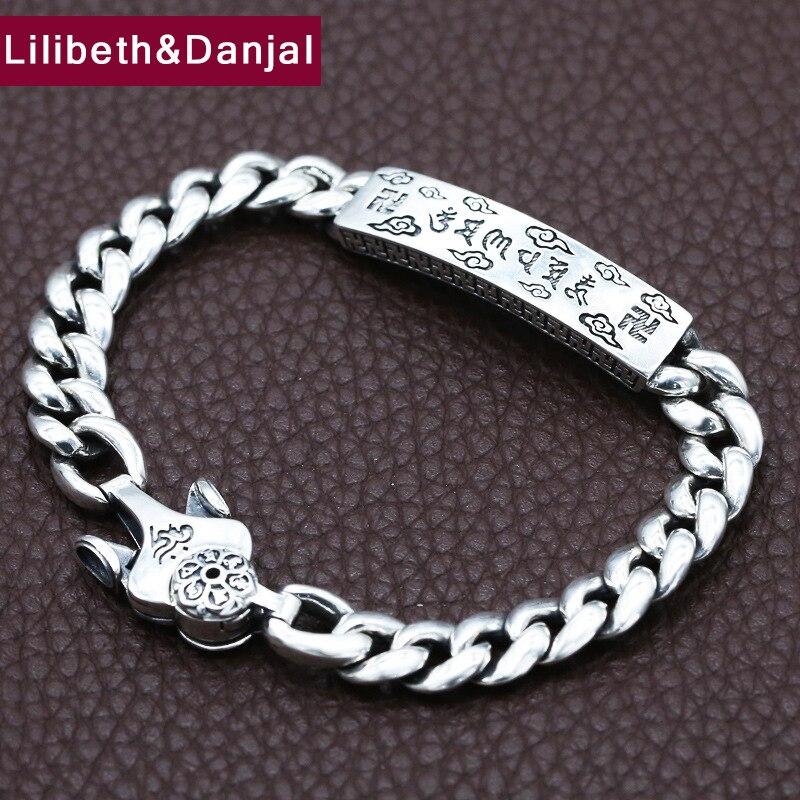 2019 Buddha Mantra Couple Letter Bracelet 100% 925 Sterling Silver Jewelry Men Women Valentine Day gift Name Bracelet Bangle B64