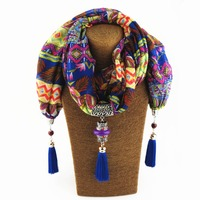Fashion 2017 Ethnic Chiffon Silk Scarf Necklaces Vintage Tassels Collar Choker Maxi Necklace For Women Boho