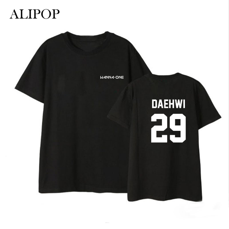 ALIPOP Kpop WANNA ONE Member Name Album Shirts Hip Hop Casual Loose Clothes Tshirt T Shi ...