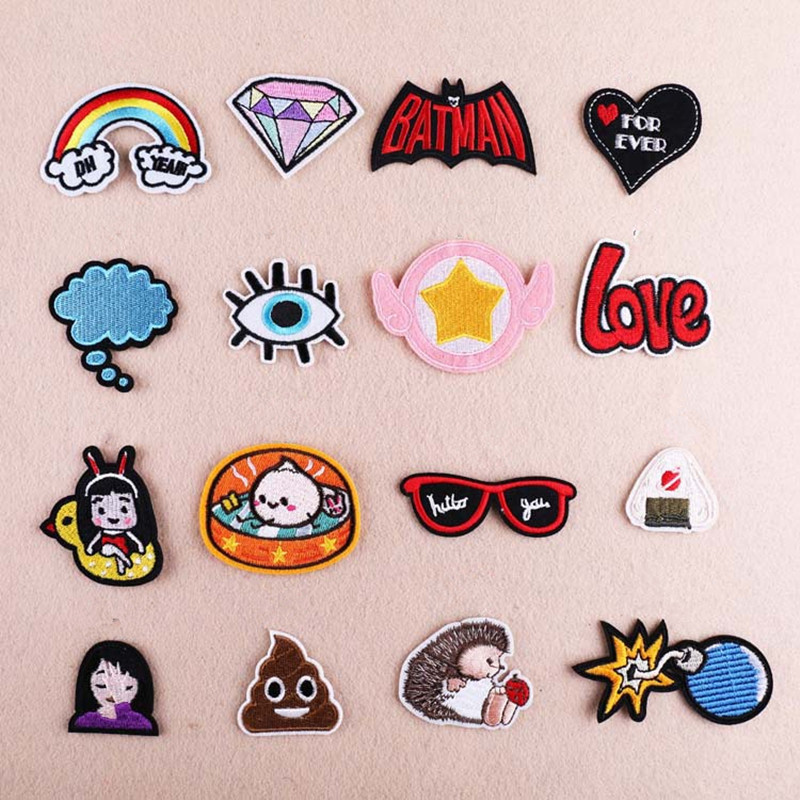 16PCS/lot Heart Rainbow Patch Badge Iron On Cartoon Patches Cheap Cute Sewing Embroidered Patches For Kids Clothes Applique
