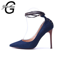 GENSHUO Shoes Women Fashion Pointed Toe Wood Grain Denim High Heel Shoes font b Red b
