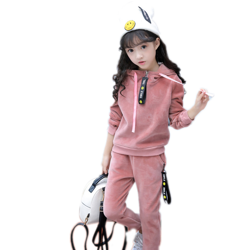 children clothing sets winter girls sports suit thicken warm hooded girls tracksuits velvet girls clothes sets kids outfits
