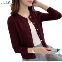 Autumn Thin Sweater Female Cardigan Sweater Round Neck Short Sleeved Outside A Small Shawl Sweater