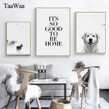 TAAWAA Nordic Black and White Dog Horse Set Posters Quote Canvas Painting Prints Wall Art Pictures for Kids Room Home Decor