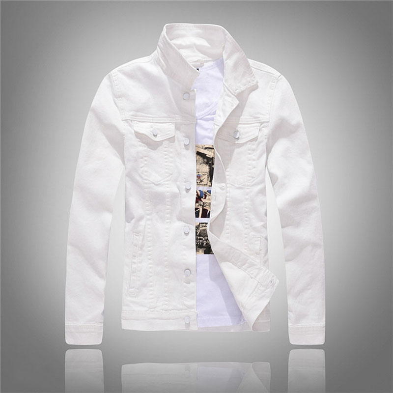 2018 Spring And Autumn Mens Fashion Denim Jackets Slim Fit White Solid Mens Jeans Jacket Men Brand Clothing Asian Size M-3XL free shipping new spring and summer fashion men s denim jeans slim wear white pantyhose feet