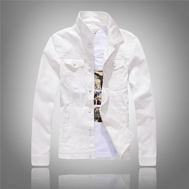 a9ca6ded745 2019 Spring And Autumn Mens Fashion Denim Jackets Slim Fit White Solid Mens  Jeans Jacket Men Brand Clothing Asian Size M-3XL