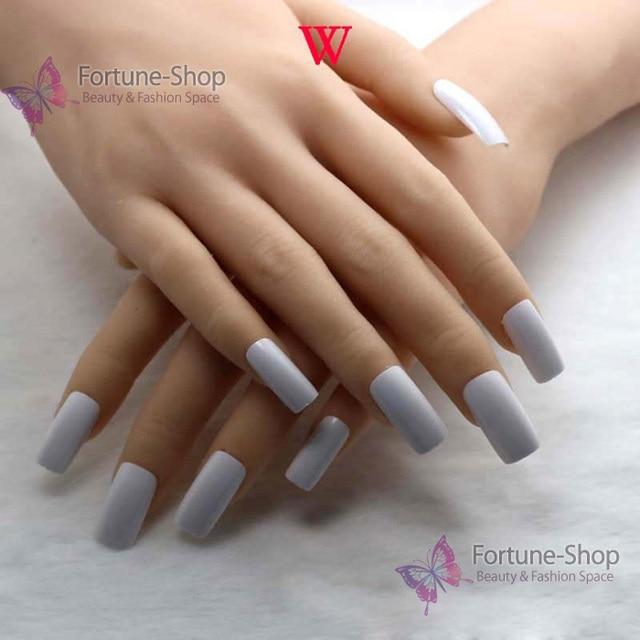 Tkgoes 20pcs Set Fake Nails Color White Acrylic Nail Tips Plastic False French