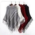 Camisola de gola alta feminina 2016 nova inverno tricô pullover moda solta longo batwing manto casaco para manter o tamanho quente mais