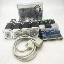4 оси Nema 23 шаговый двигатель 255oz-in, 3A, 2 фазы, 6 проводов ЧПУ комплект