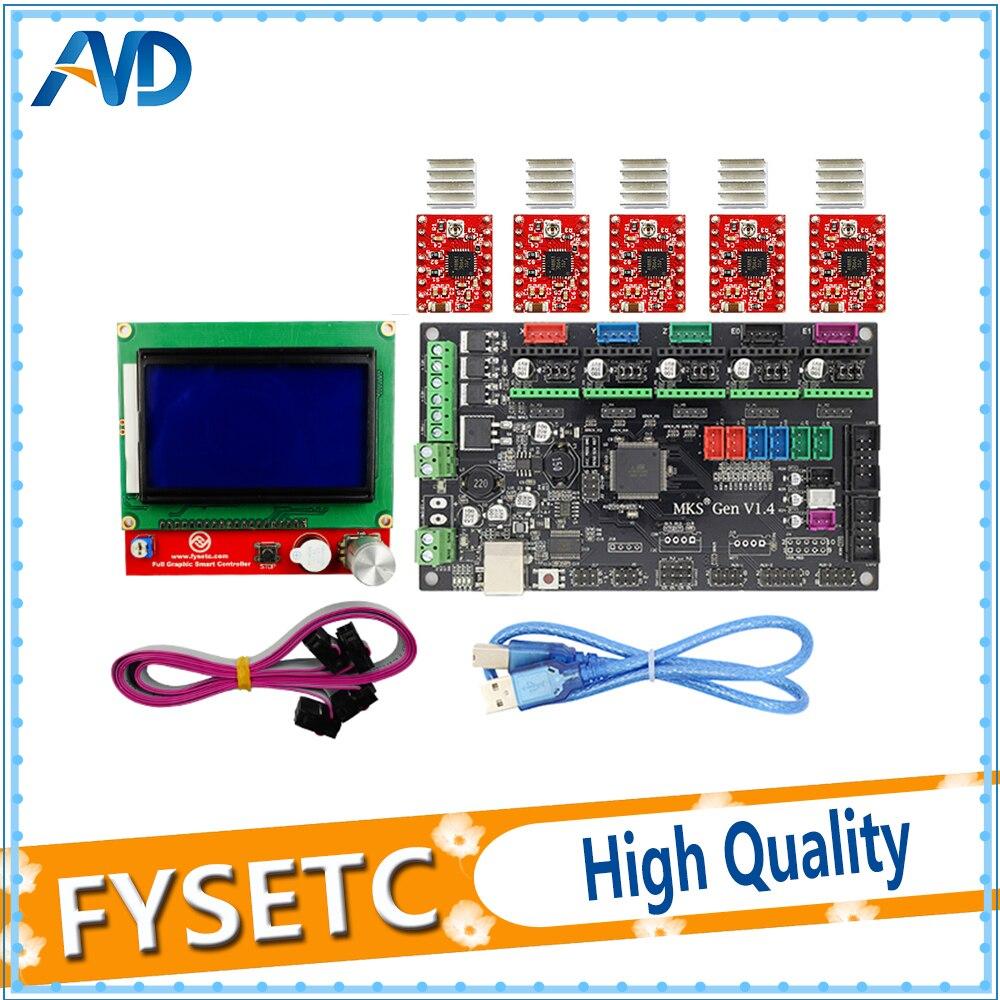 MKS Gen V1.4 control board +12864LCD+ A4988 And Heatsink stepper motor compatible with Ramps1.4/Mega2560 R3 3D printer parts marxism and darwinism