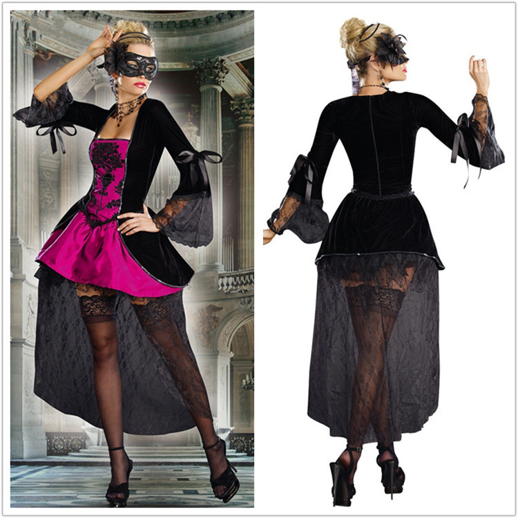 Lady Halloween Costume Women New Luxury Vampire Stage Costume Game Uniform Girls Make Up Party Dress Role Playing Suit B-4171