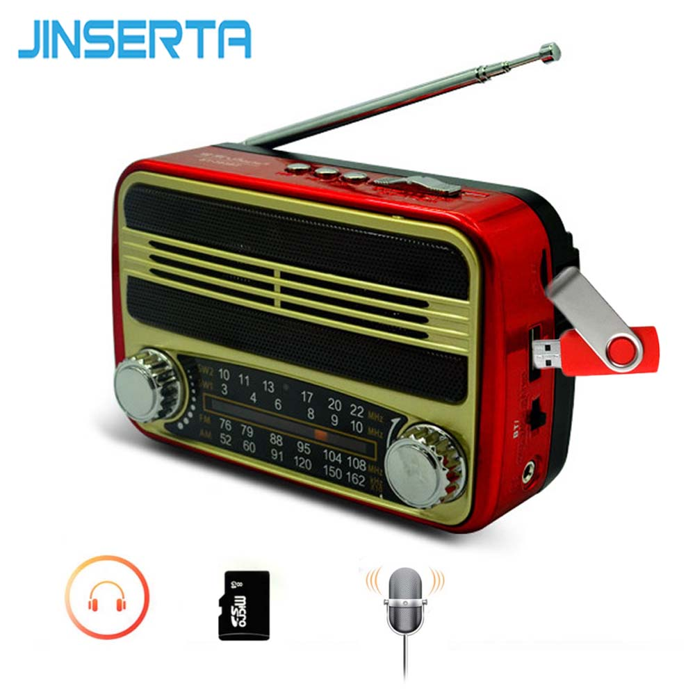 JINSERTA FM/AM/SW Radio Receiver Mini Retro Speaker BT MP3 Player Support U Disk TF Card Play with USB Cable Headphone Jack