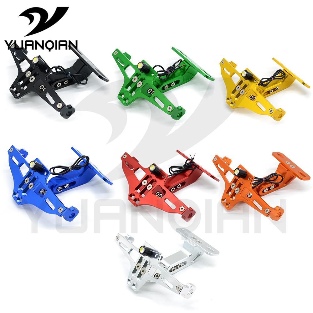 Universal Motorcycle  Moto cnc Aluminum License Number Plate Frame Holder Bracket with light FOR BMW F800GS F800R F800GT F800ST