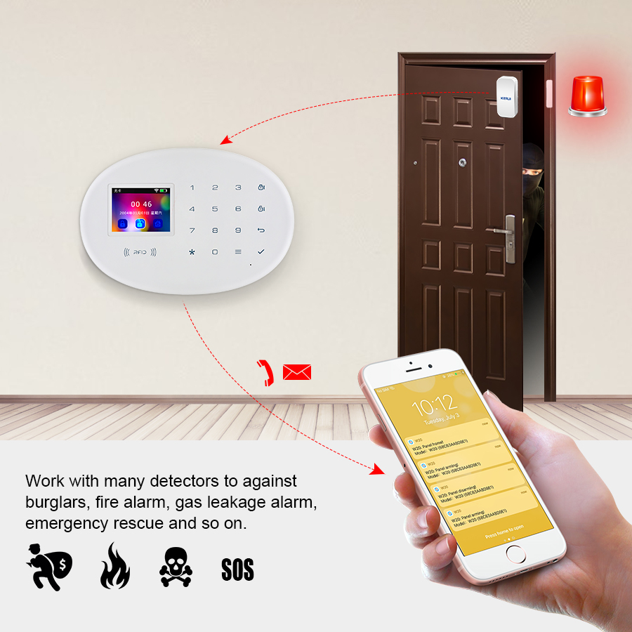KERUI W20 Wireless Smart Home WIFI GSM Security Alarm System With 2.4 inch TFT Touch Panel RFID CardBurglar Alarm
