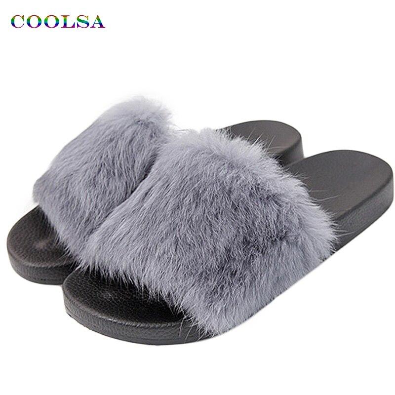 Women's Real Fur Fluffy Flat Slippers Slider Flip Flops Luxury Summer Hot Design