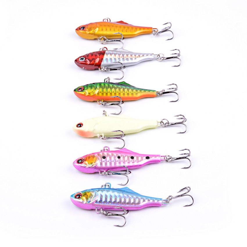 6pcs Hard Fishing Lure VIB Rattlin 14g/6cm Hook Fishing Vibra Rattlin Hooktion Lures Crank Baits Isca Artificial ld7530pl ld7530 sot23 6