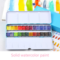 High QualitySolid Watercolor Paint Set Iron Box Bright Color Portable Watercolor Pigment Set For Art Drawing