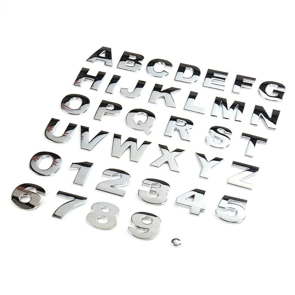45mm 3D Metal DIY Letters Alphabet Emblem Chrome Car Stickers Black Logo Digital