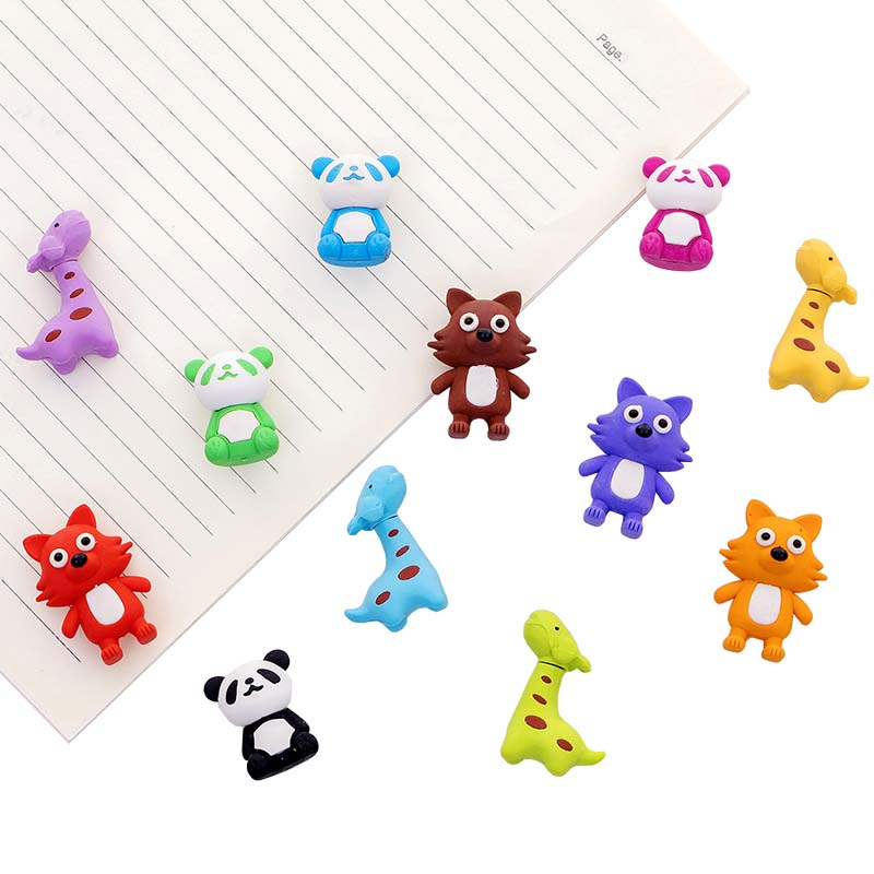 1 Pcs Cute Panda Fox Deer Shape Cartoon Rubber Eraser Children Stationery Gift Prizes School Drawing Pencil  Erasers Papelaria