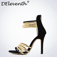 DEleventh 2017 Summer Rome Women Sandals Gold Ankle Strap High Heels Shoes Sandals Open toe Stiletto Vogue Zapatos Mujer Black