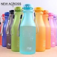 Juh 1 unids color caramelo botella helada botella de plástico sellada portable al por mayor deportes botella 550 ml