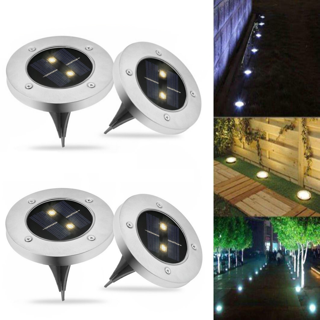 Waterproof 2 LED Solar Garden Lawn Yard Stair Under Ground Landscape Outdoor Path Light Buried Home Decoration Night Lamp Lights ip65 waterproof 8 led solar outdoor ground lamp landscape lawn yard stair underground buried night light home garden decoration