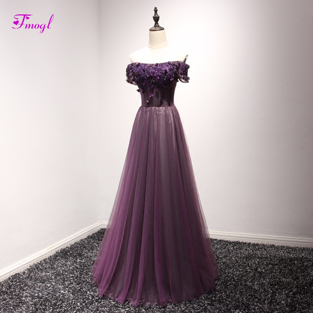 Fmogl Designer Graceful Appliques Boat Neck Princess   Prom     Dresses   2019 Beaded Short Sleeve Formal Party Gown Vestido de Festa